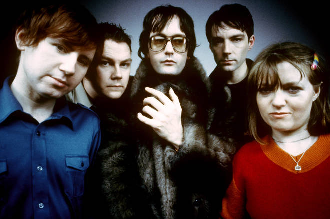 Pulp in 1998: Mark Webber, Nick Banks, Jarvis Cocker, Steve Mackey, Candida Doyle