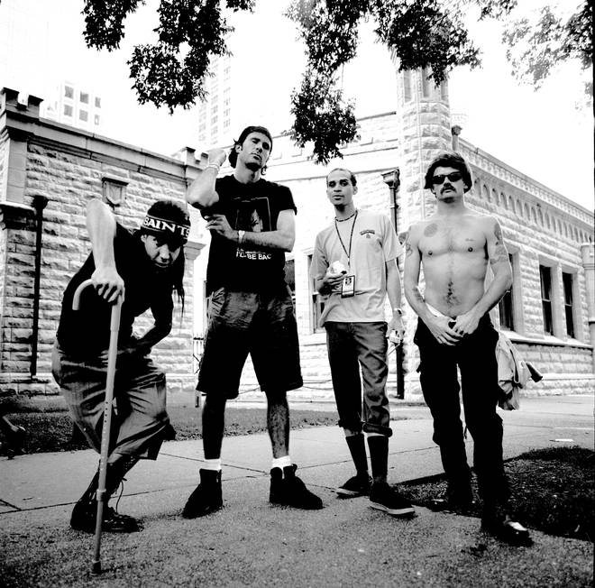 Red Hot Chili Peppers in 1992: Anthony Kiedis, Chad Smith, John Frusciante, and Flea
