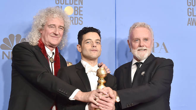 Brian May, Rami Malek and Roger Taylor attend the 76th Annual Golden Globe Awards in 2019