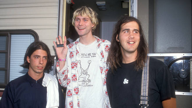 Dave Grohl, Kurt Cobain and Krist Novoselic of Nirvana at the MTV Music Awards in 1992