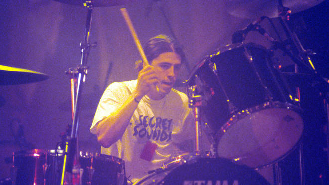 Dave Grohl playing drums with Nirvana in 1991