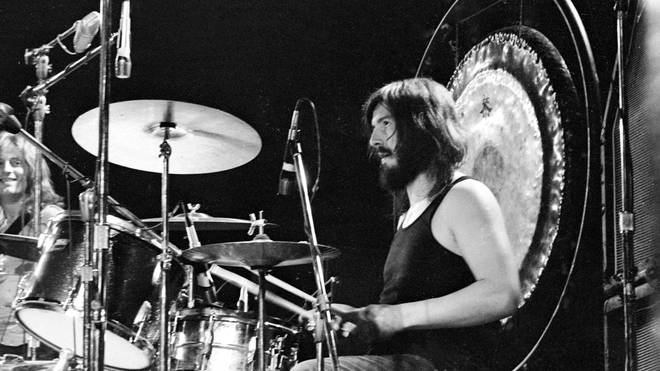 John Bonham of Led Zeppelin performs onstage at the Forum on June 3, 1973 in Los Angeles