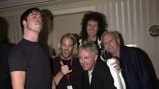 Dave Grohl, Taylor Hawkins, Brian May, Roger Taylor and Nate Mendel at Queen's induction into the Rock 'N' Roll Hall Of Fame