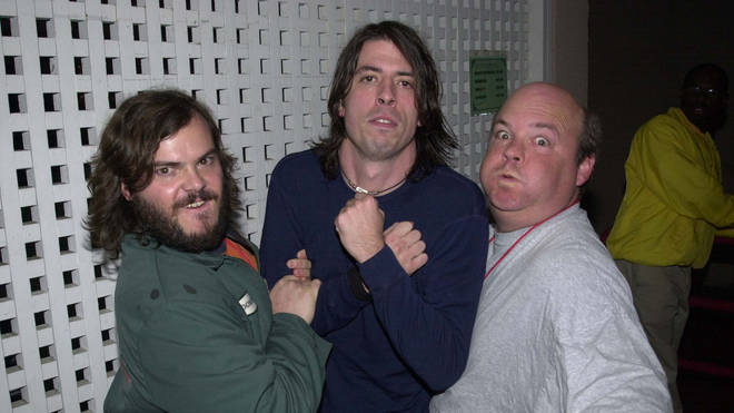Jack Black, Dave Grohl & Kyle Gass during Foo Fighters Concert at Universal Amphitheater in 2000