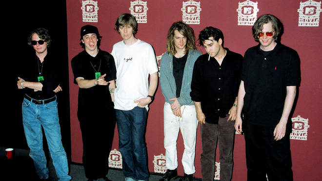 Mike Mills, Dave Grohl, Thurston Moore, Dave Pirner at the MTV Movie Awards, 1994