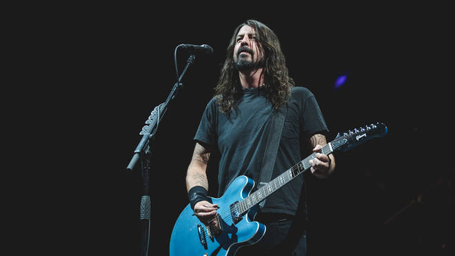 Dave Grohl on stage at CalJam 17