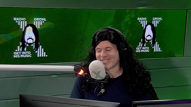 Chris Moyles wears a black wig on Radio X's Radio Grohl day