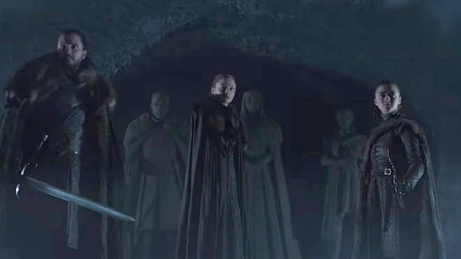 Game of Thrones characters John Snow (Kit Harington), Sansa Stark (Sophie Turner) and Arya Stark (Maisie Williams) in HBO season 8 trailer