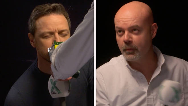 Glass actor James McAvoy sniffs McCoy crisps in an interview with The Chris Moyles Show's Dominic Byrne