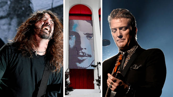 Foo Fighters Dave Grohl, an image of Chris Cornell and Queens of the Stone Age's Josh Homme at I Am The Highway: A Tribute To Chris Cornell