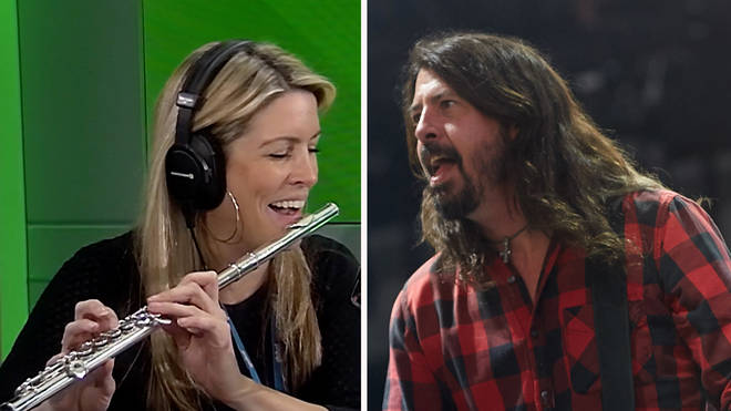Pippa Taylor plays Flute Fighters on The Chris Moyles and Foo Fighters' Dave Grohl