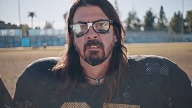 Dave Grohl dressed as an American football player in Foo Fighters teaser
