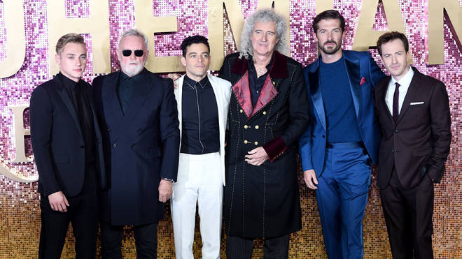 Ben Hardy, Queen's Roger Taylor, Rami Malek, Queen's Brian May, Gwilym Lee and Joseph Mazzello at the world premiere of Bohemian Rhapsody in London, Britain