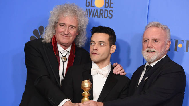 Queen's Brian May, Bohemian Rhapsody actor Rami Malek and Queen's Roger Taylor