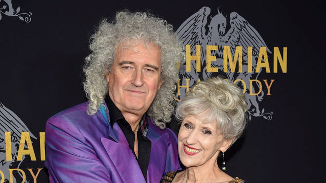Queen guitarist Brian May with wife and former EastEnders star Anita Dobson at the New York premiere of Bohemian Rhapsody