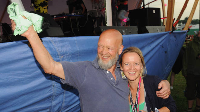 Glastonbury Festival organisers Michael Eavis and Emily Eavis on site in 2009