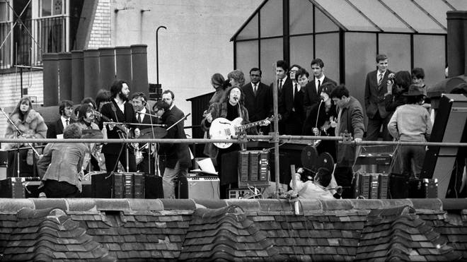 The Beatles on the roof of Apple, London 30 January 1969