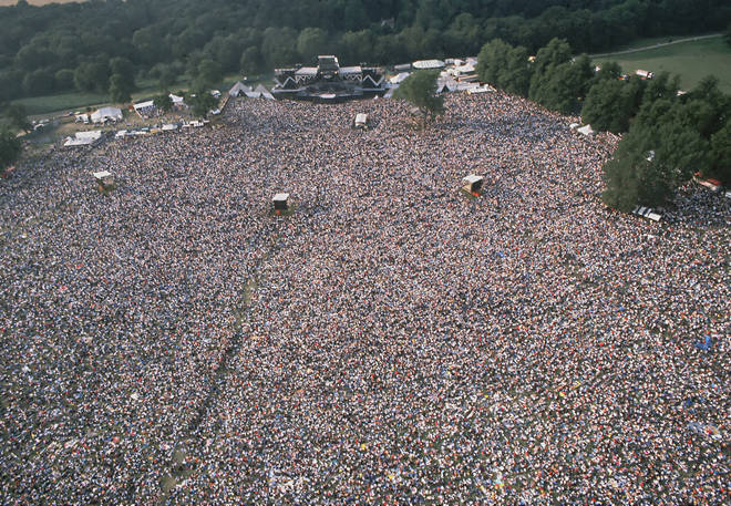 The crowds at Knebworth Park during a show by Queen, 9 August 1986.