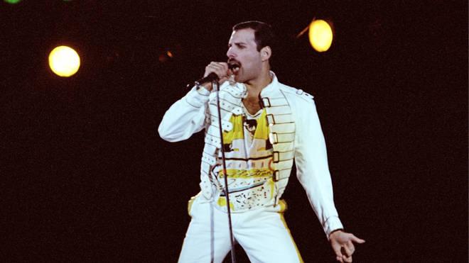 Freddie Mercury onstage at Knebworth, 9 August 1986