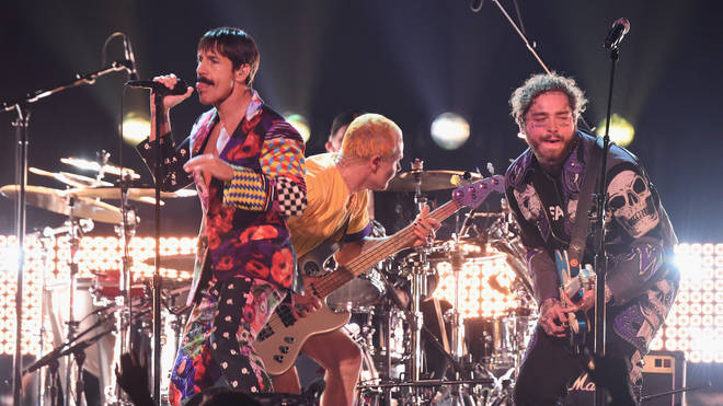 Red Hot Chili Peppers perform with Post Malone at The GRAMMYs
