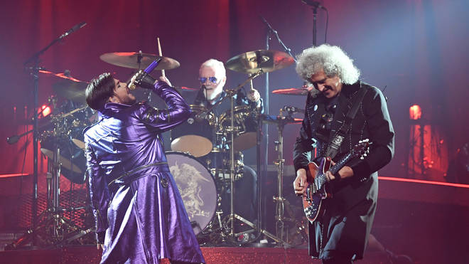 Queen's Brian May, Roger Taylor and their live singer Adam Lambert