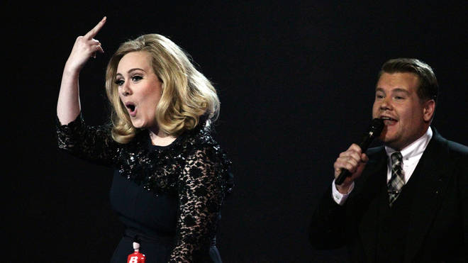Adele and James Corden at the BRIT Awards, 2012
