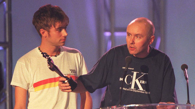 Damon Albarn of Blur and Irvine Welsh at the BRIT Awards, 1997