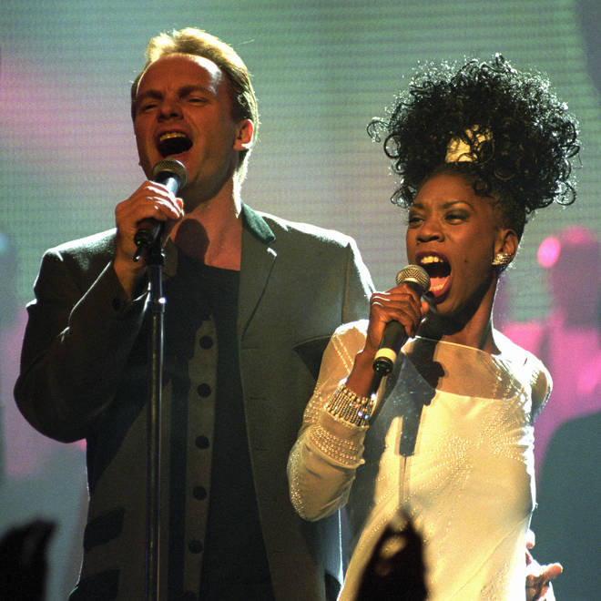 Sting and Heather Small of M People at the BRIT Awards, 1995