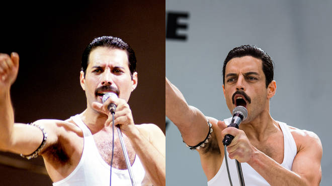 Freddie Mercury at Live Aid and Rami Malek in the Bohemian Rhapsody film (2018)
