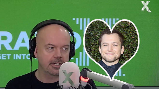 Dominic Byrne on The Chris Moyles Show with Taron Egerton inset