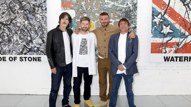 The Stone Roses' John Squire and Gary 'Mani' Mounfield with Daniel Kearns and David Beckham at the Kent & Curwen show during London Fashion Week Men's June 2018