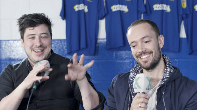 Mumford & Sons' Marcus Mumford and Ben Lovett talk to Chris Moyles during Chris Moyles meets Mumford & Sons