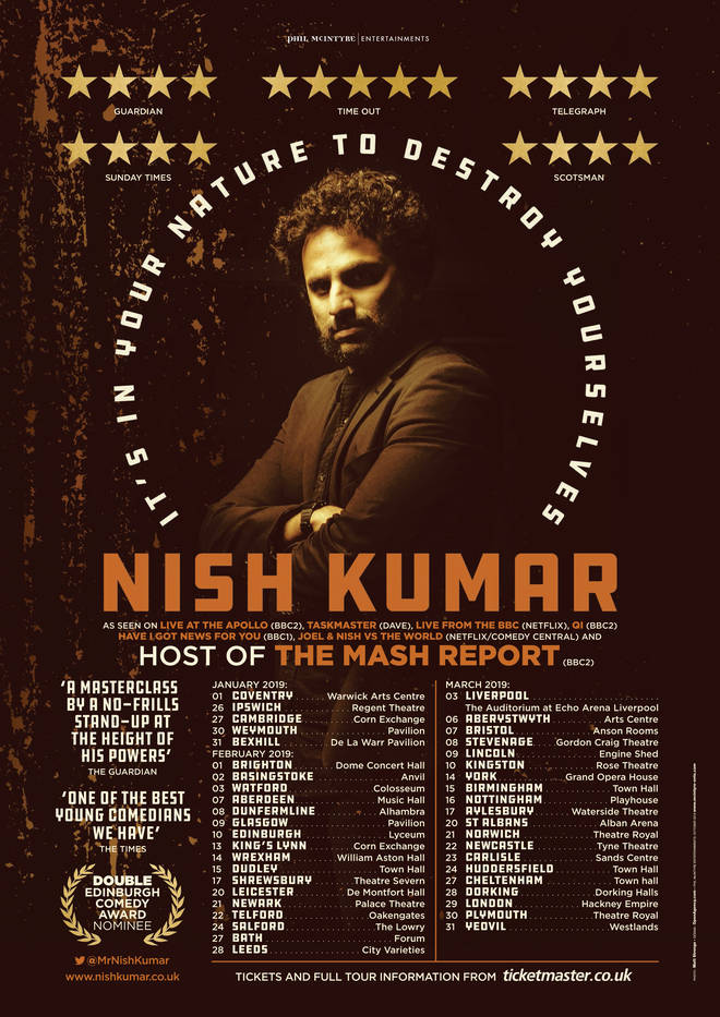 Nish Kumar 2019 tour dates
