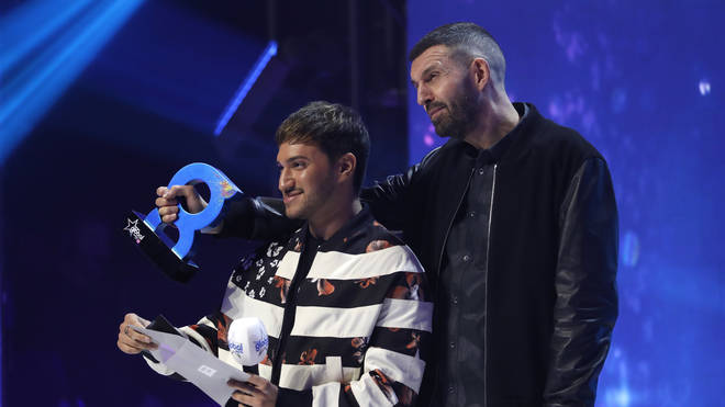 Jonas Blue and Tim Westwood on stage during The Global Awards 2019