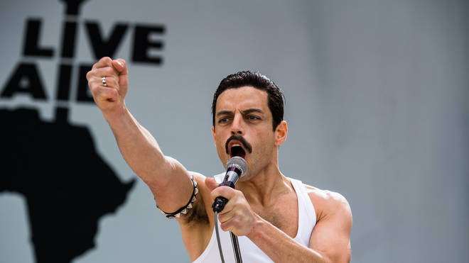 Rami Malek stars as Freddie Mercury during his the Live Aid concert in Bohemian Rhapsody scene