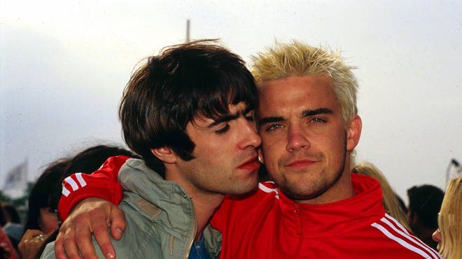 Liam Gallagher and Robbie Williams at Glastonbury 1995