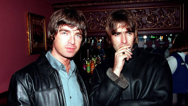 Noel and Liam Gallagher at the opening night of Steve Coogan's comedy show in the West End 1995.