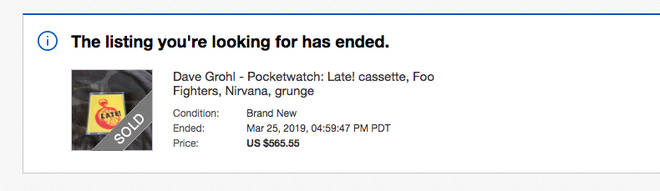 Listing for Dav Grohl's Pocketwatch: Late! cassette