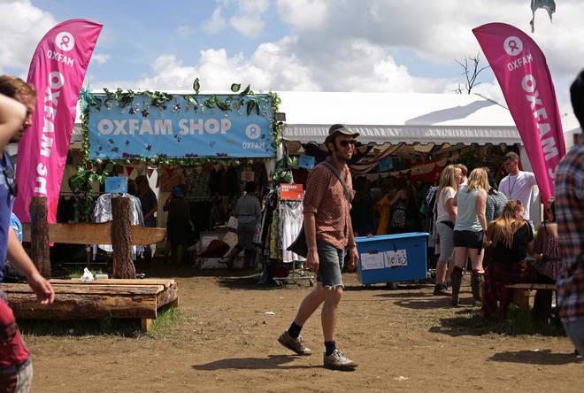 The Oxfam shop at Glastonbury Festival 2015