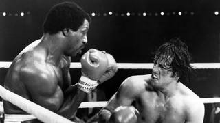 Actors Carl Weathers and Sylvester Stallone on set of the United Artist movie Rocky II in 1979.