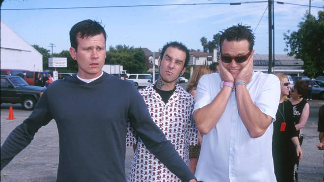 Blink-182's classic line-up Tom DeLonge, Travis Barker and Mark Hoppus
