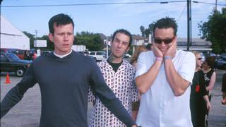 Blink 182's classic line-up Tom DeLonge, Travis Barker and Mark Hoppus