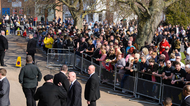 Fans gather at the funeral of Keith Flint at St Mary's Church on March 29, 2019 in Braintree, England.