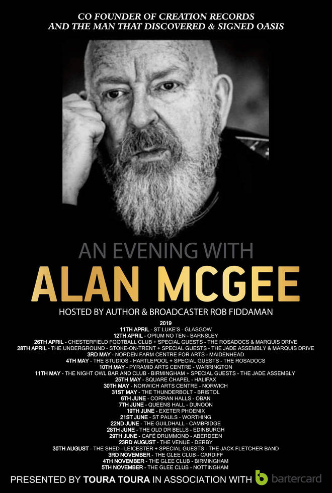 An Evening with Alan McGee tour poster