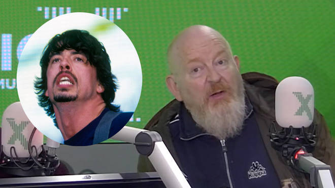 Dave Grohl (inset) and Alan McGee in the Radio X studio