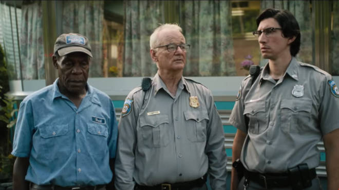 A still from The Dead Don't Die trailer starring Danny Glover, Bill Murray, and Adam Driver