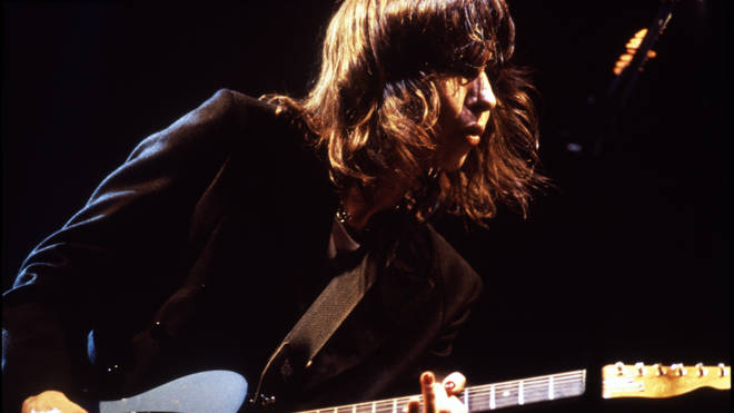 Chrissie Hynde of the Pretenders, performing at the Glastonbury Festival, 1994