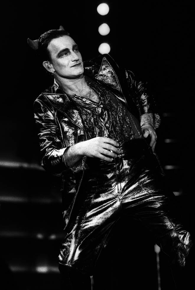 Bono of U2 performs on stage on the Zooropa Tour at Kuip on May 10th 1993 in Rotterdam, Netherlands.