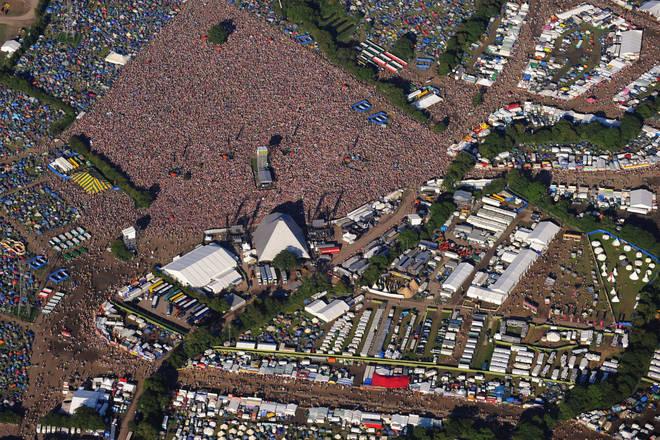 An aerial photo of Glastonbury festival