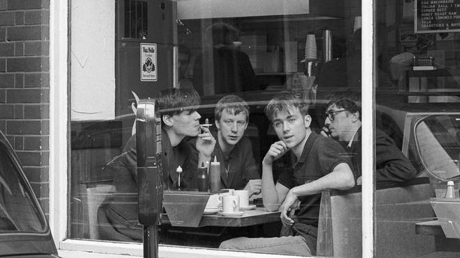 Blur at an east London cafe, 1992: Alex James, Dave Rowntree, Damon Albarn and Graham Coxon.